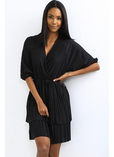 Emjey Kruvaze Yaka Full Piliseli Elbise Siyah